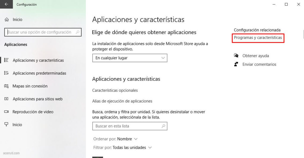 Programas y características de Windows 10