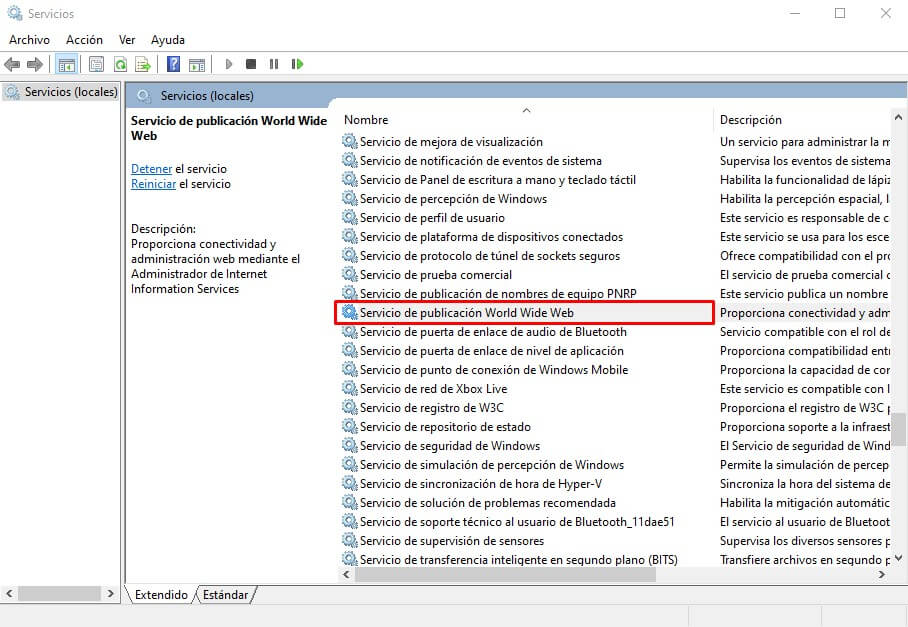 Servicio de publicación World Wide Web - Internet information Services Windows 10